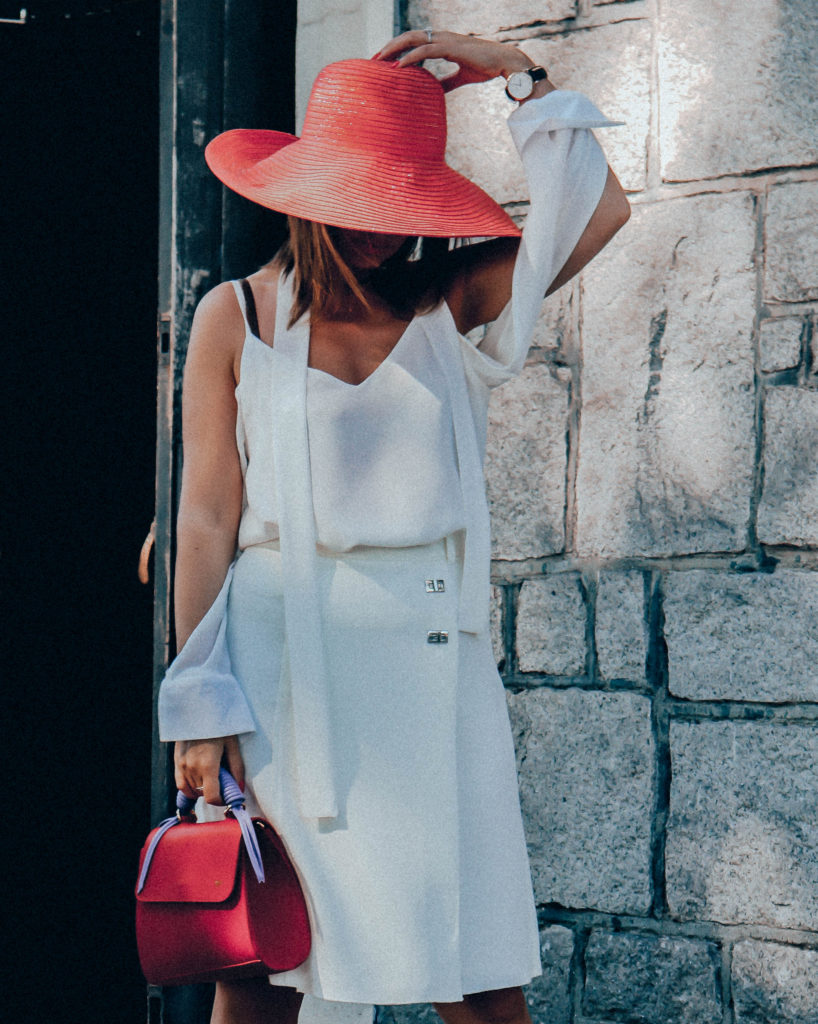 White on white with a Pop of Red!